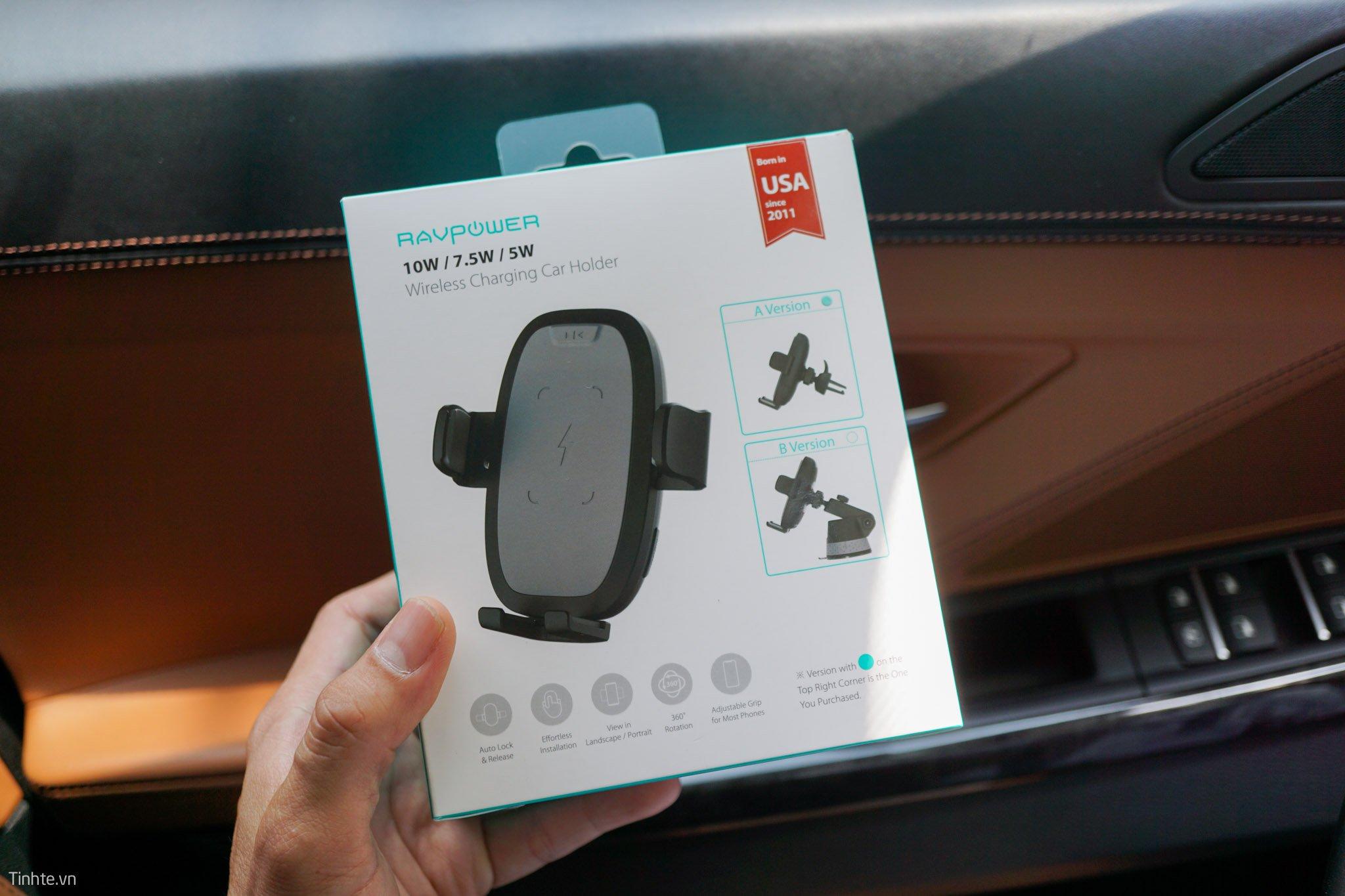 Giá giữ điện thoại kiêm sạc không dây ô tô Ravpower SH014