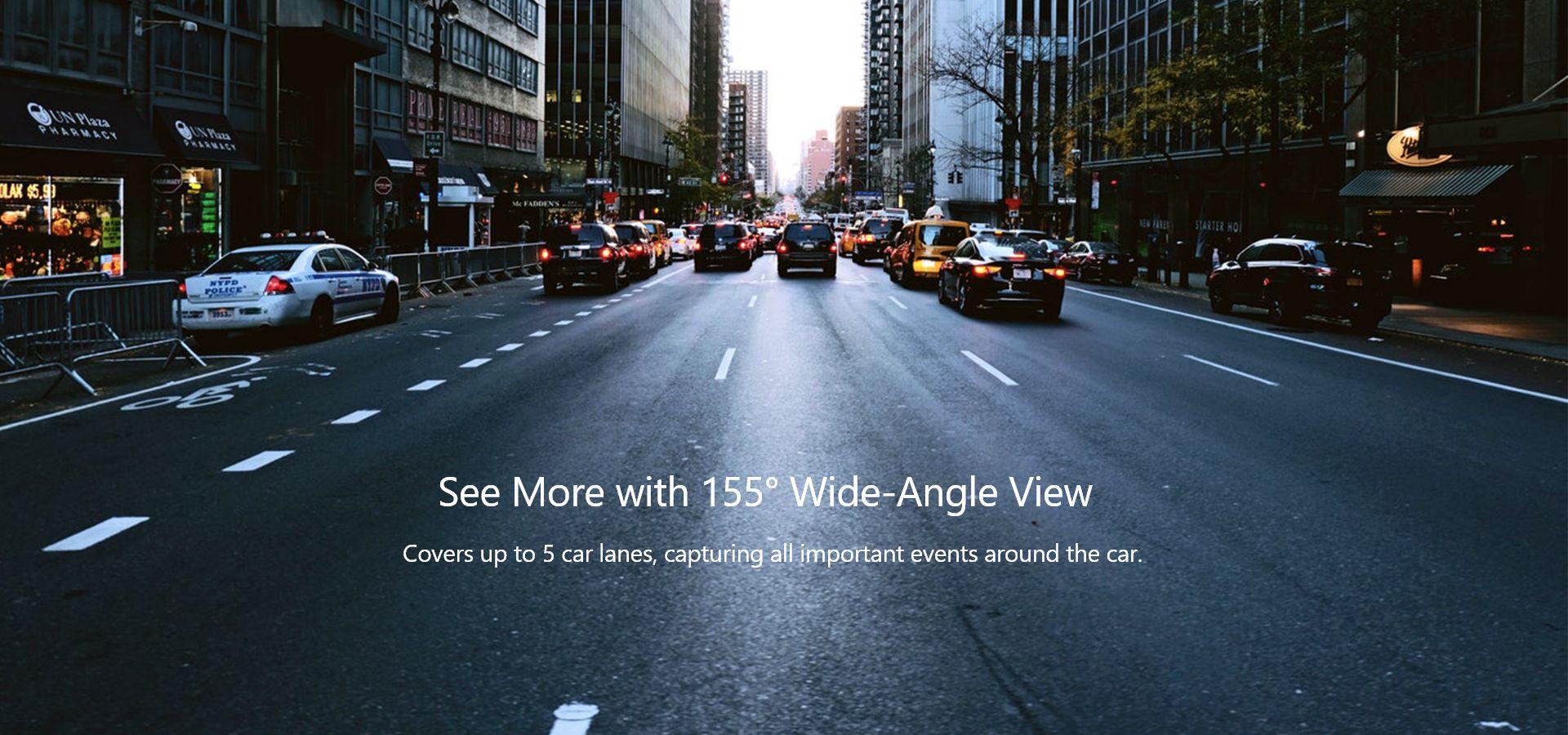 Quan sát góc rộng với VAVA Dash Cam 4K