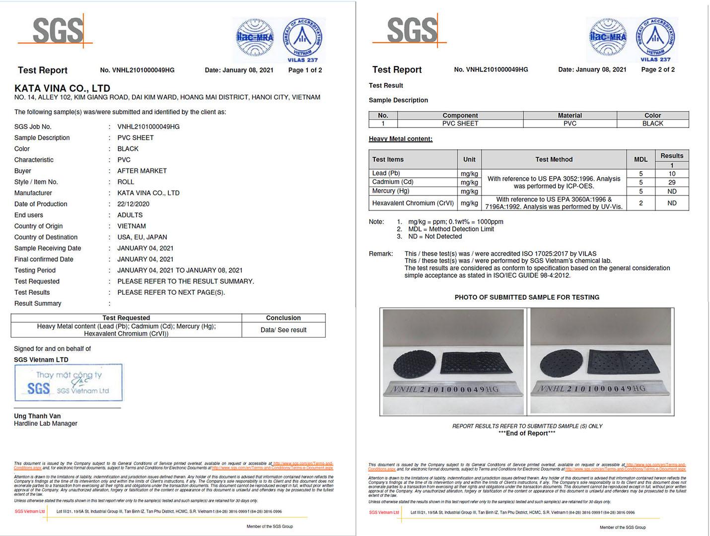 Chứng chỉ quốc tế SGS cho chất lượng sản phẩm và an toàn sức khỏe của thảm KATA