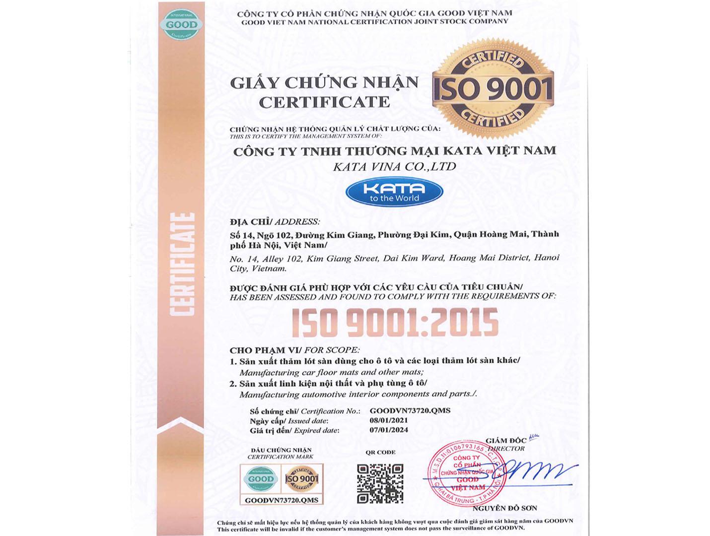 Chứng chỉ ISO9001:2015 thảm KATA
